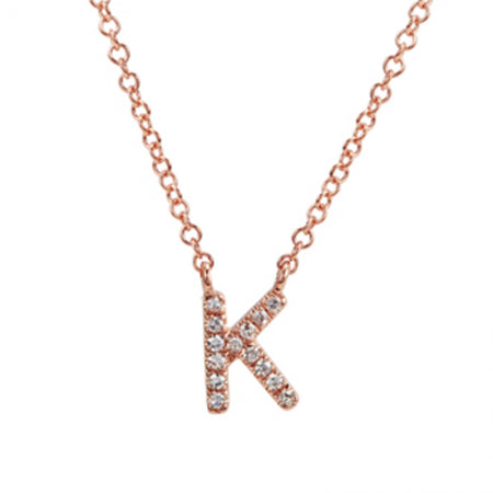 14K Rose Gold Diamond Initial Necklace