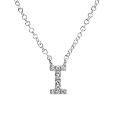14K White Gold Diamond Initial Necklace