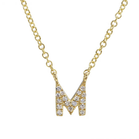 14K Yellow Gold Diamond Initial Necklace