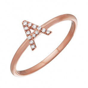 14K Rose Gold Diamond Initial Ring