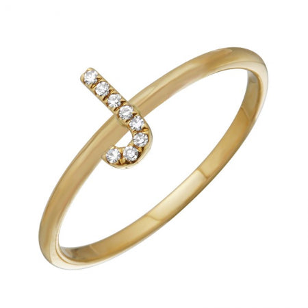 14K Yellow Gold Diamond Initial Ring