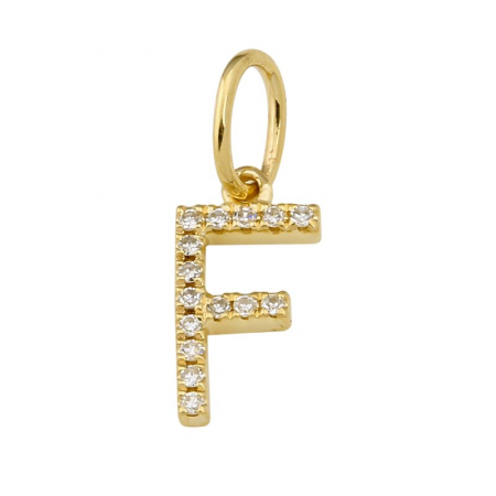 14K Yellow Gold Initial Diamond Necklace Charm