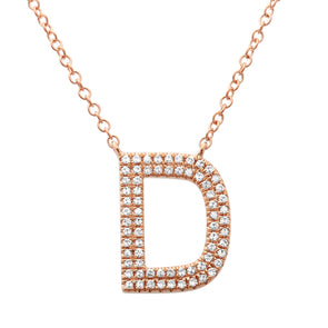 14K Rose Gold Diamond Double Row Initial Necklace