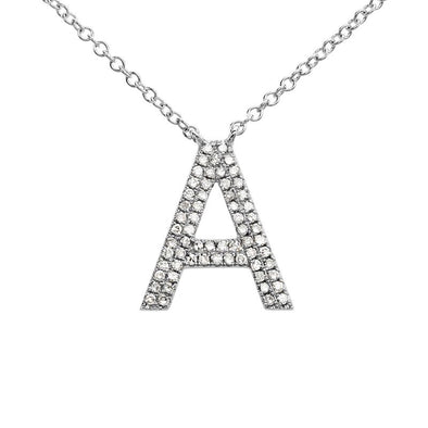 14K White Gold Diamond Double Row Initial Necklace
