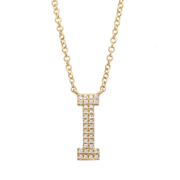 14K Yellow Gold Diamond Double Row Initial Necklace