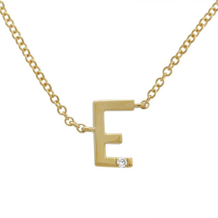 14K Yellow Gold Varsity Initial with Diamond