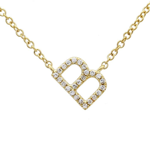 14K Yellow Gold Slanted Initial Diamond Necklace
