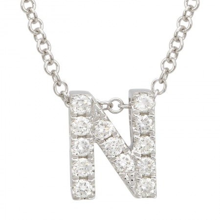 14K White Gold Diamond Small Initial Necklace