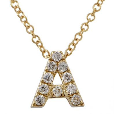 14K Yellow Gold Diamond Small Initial Necklace