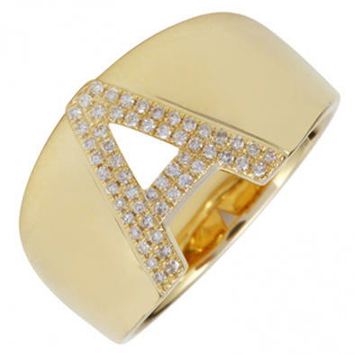 14K Yellow Gold Diamond Block Initial Ring (A-Z)