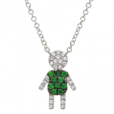 14K White Gold Diamond and Tsavorite Boy Necklace