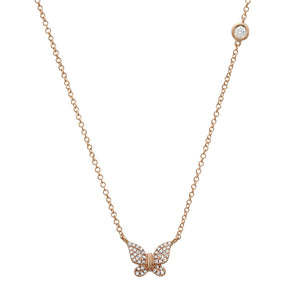 14K Rose Gold Butterfly Necklace with Diamond Bezel Chain