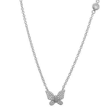 14K White Gold Butterfly Necklace with Diamond Bezel Chain