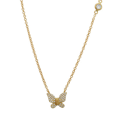 14K Yellow Gold Butterfly Necklace with Diamond Bezel Chain