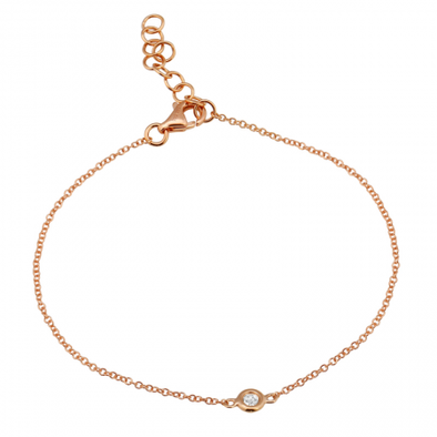 14K Rose Gold Diamond Bezel Bracelet