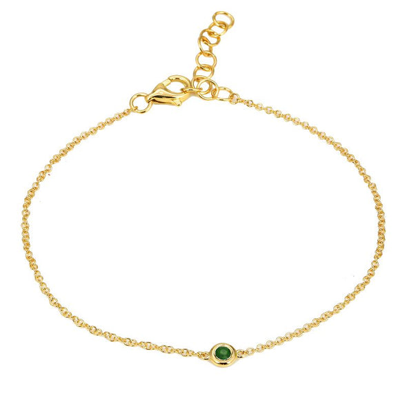 14k Yellow Gold Emerald Gemstone Chain Bracelet