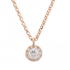 14k Rose Gold Dainty Diamond Circle Pendant With Chain
