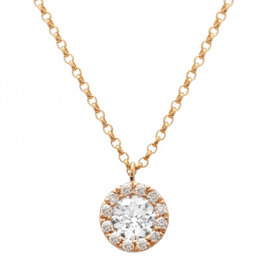 14k Rose Gold Diamond Circle Pendant With Chain