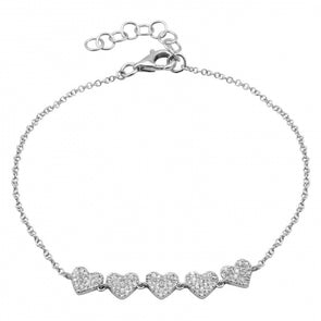 14K White Gold Diamond 5 Heart Bracelet
