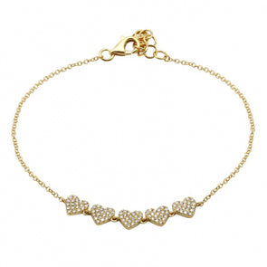 14K Yellow Gold Diamond 5 Heart Bracelet
