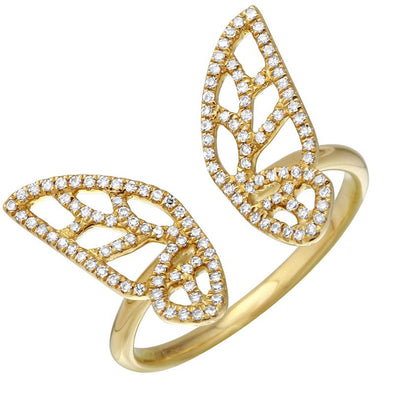 14k Yellow Gold Open Butterfly Ring