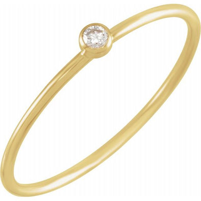 14K Yellow Gold Diamond Stackable Ring
