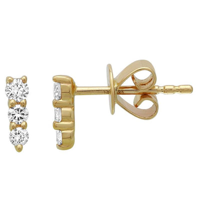 14k Yellow Gold Graduated Diamond Earrings