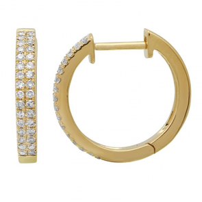 14k Yellow Gold Double Row Diamond Huggie Earrings