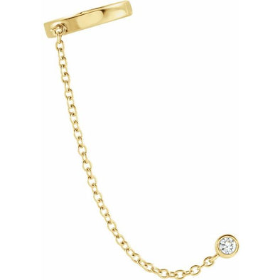 14K Yellow Gold Diamond Single Ear Cuff With Chain