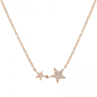 14K Rose Gold Diamond Twin Stars Necklace