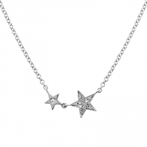 14k White Gold Diamond Twin Stars Necklace