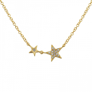 14K Yellow Gold Diamond Twin Stars Necklace