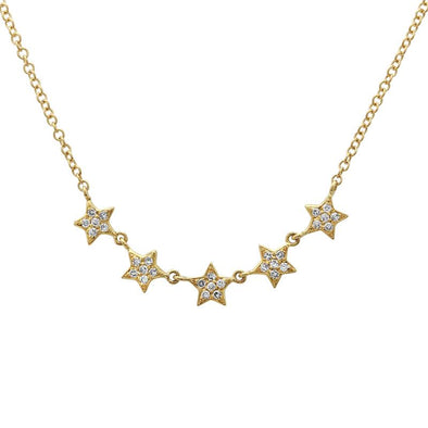 14k Yellow Gold Mini Stars Necklace