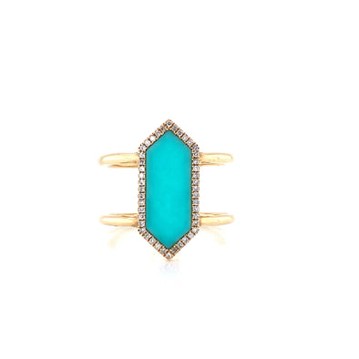 14K Yellow Gold Diamond + Turquoise Ring