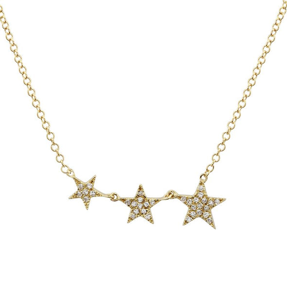14k Yellow Gold Mini Graduating Star Necklace