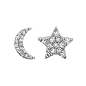 14K White Gold Diamond Moon + Star Stud Earrings