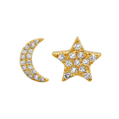 14K Yellow Gold Diamond Moon + Star Stud Earrings