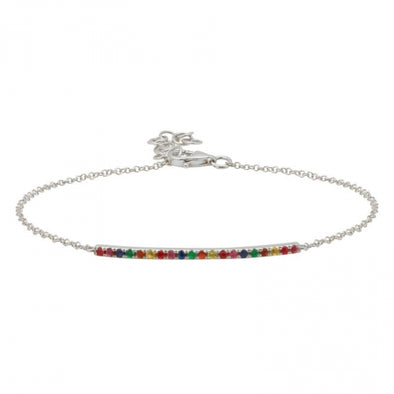 White Gold 14K Rainbow Bar Bracelet