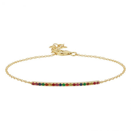 14K Rose Gold Rainbow Bar Bracelet