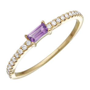 Amethyst Diamond Stacking Ring