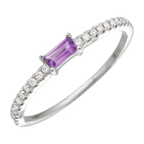 14K White Gold Amethyst Diamond Stacking Ring