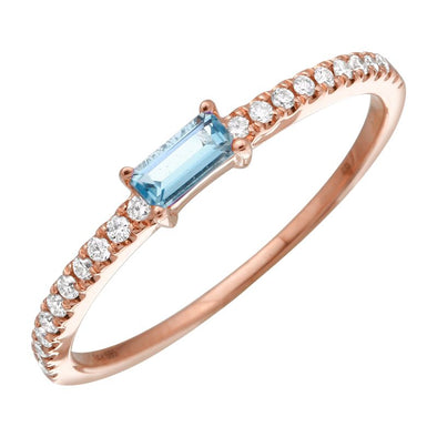 Blue Topaz Diamond Stacking Ring