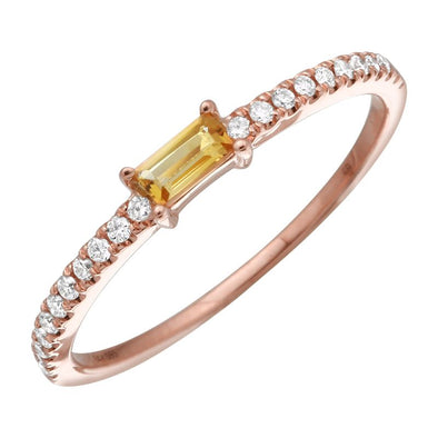 Citrine Diamond Stacking Ring