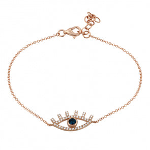 14K Rose Gold Diamond + Sapphire Evil Eye Bracelet
