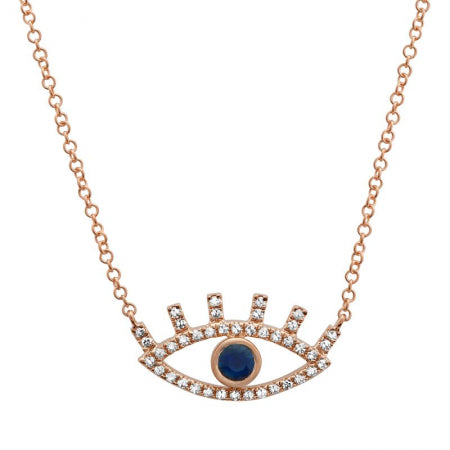 14K Rose Gold Diamond + Sapphire Evil Eye Necklace