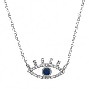 14K Diamond + Sapphire Evil Eye Necklace