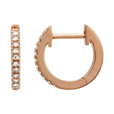 14K Rose Gold Single Row Diamond Huggies