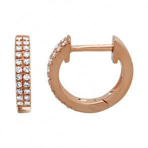 14K Rose Gold Diamond Double Row Huggies