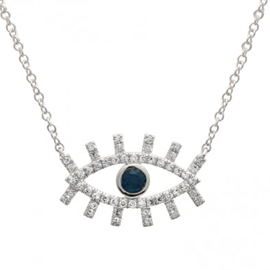 14K Rose Gold Diamond + Sapphire Evil Eye Eyelash Necklace