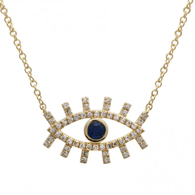 14K Diamond + Sapphire Evil Eye Eyelash Necklace